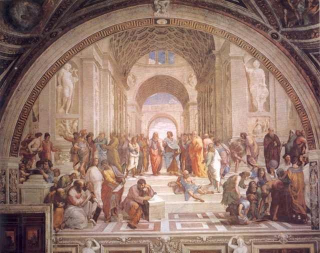 湿壁画 1515年 670×1515厘米 梵蒂冈博物馆藏    《 雅典学派 》把不